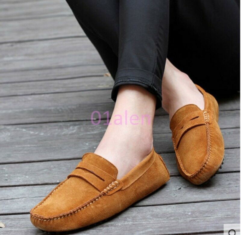 HOT Uomo Suede Moccasins Casual Driving Shoes Comfort Slip On Loafers Boat Shoes