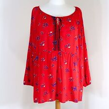 3X Red Boho Top Long Sleeve Gypsy Tunic Sheer Rayon Blouse India Hippie Ethnic