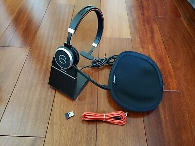 Jabra Evolve 65 Ms Mono Headset With Charging Stand Usb Dangle And Soft Case Ebay