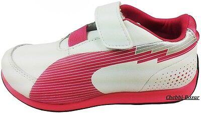 Puma evoSPEED Lo V Kids Kinder Mädchen Schuhe Sneaker Weiß Pink Gr 20 - 32 Neu