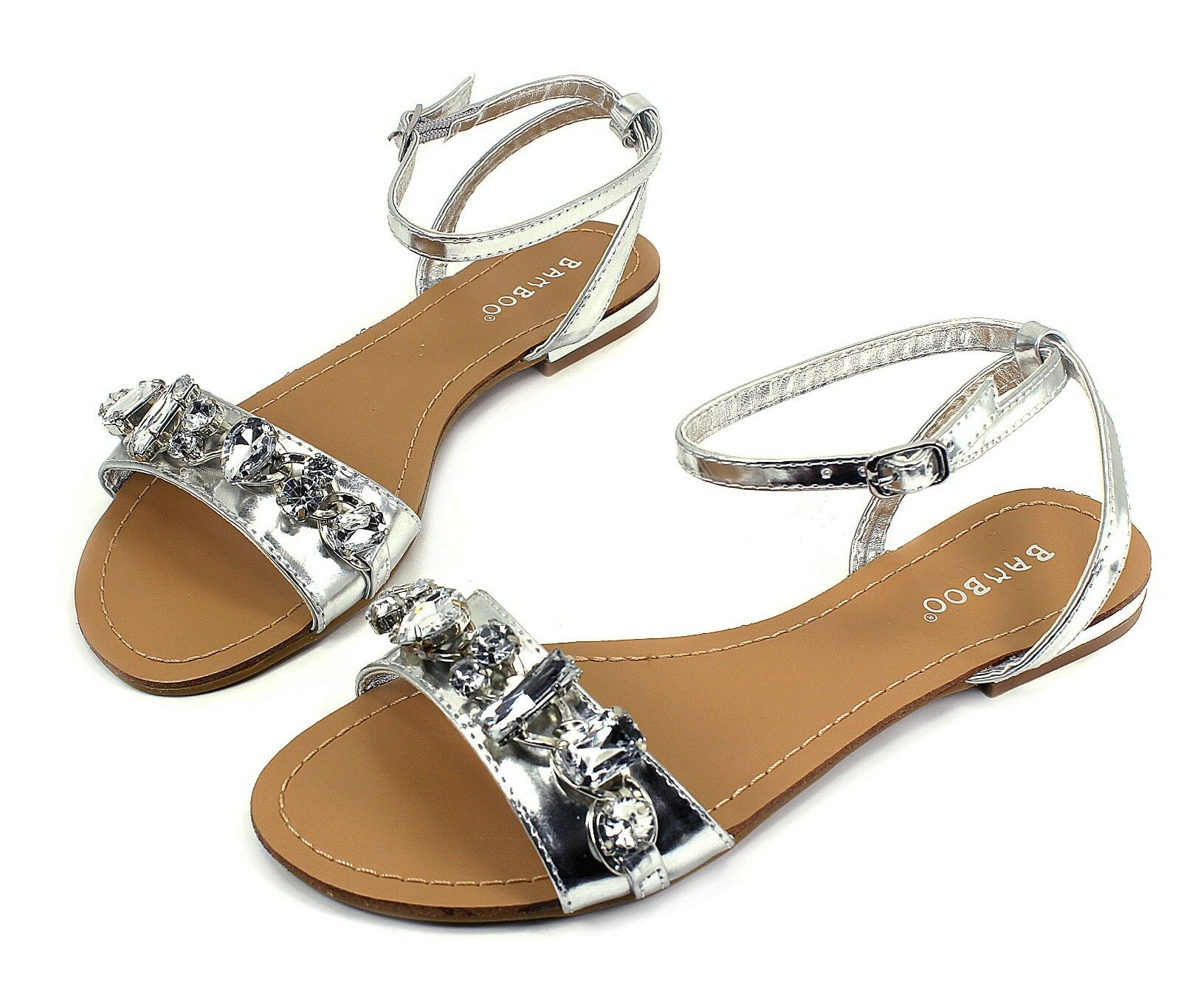 Ambra-69 Fashion Precious Stone Women Flat Cute Sandals Party Women Stone Shoes Silver 8.5 aac128