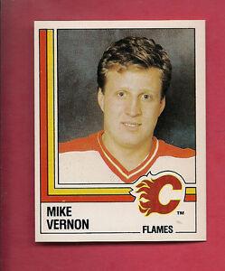 RARE-1987-PANINI-203-FLAMES-MIKE-VERNON-ROOKIE-STICKER-CARD