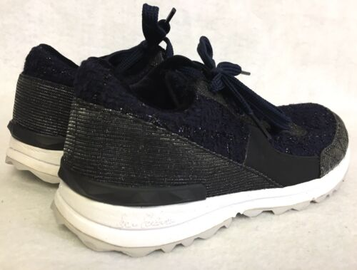 blue shimmer fabric fashion sneakers trainers $160 SAM EDELMAN DAX black