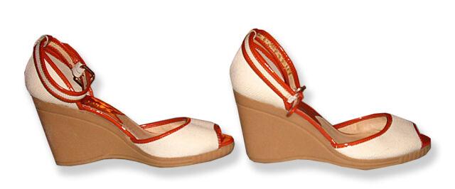 6795b6aa75 Michael Kors Cream Texture w/Orange Patent Leather Sandal Shoe w/Ankle Strap -