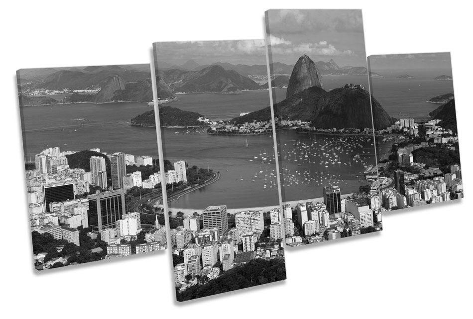 Rio DE janerio B&W CANVAS Wall Art Multi Box incorniciato