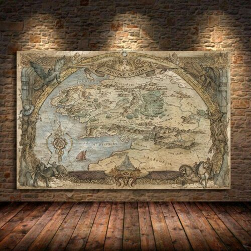 Middle-Earth Map Movie Posters And Prints Lord Of Rings Classic Film Art Picture