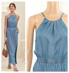 ex-High-Street-Pockets-Halterneck-Denim-Tencel-Summer-Holiday-Maxi-Dress