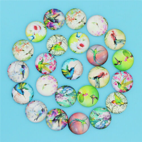 50PCS Round Glass Dome Cabochon Flatback Cameo Beads DIY Crafts 12MM 20MM 25MM