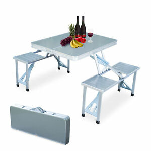 Folding aluminum picnic table portable 4 seats collapsible camping image is loading folding aluminum picnic table portable 4 seats collapsible watchthetrailerfo