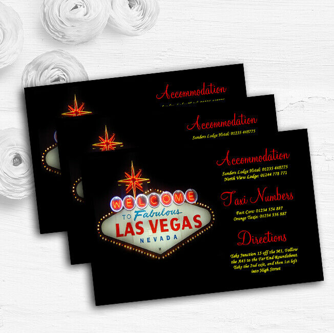 Las Vegas Sign Fabulous Personalised Wedding Guest Information Cards
