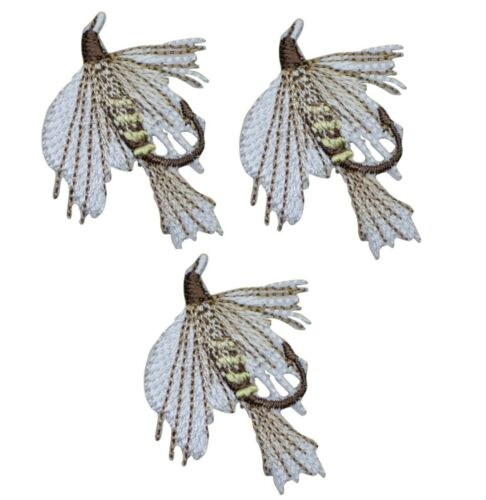 3-Pack, Small, Iron on Fly Fishing Applique Patch Brown White