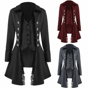 Vintage-Womens-Steampunk-Gothic-Lace-Buttons-Up-Trench-Coat-Jacket-Blazer-Suits
