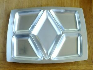 VINTAGE STAINLESS STEEL 5 SECTION DIVIDED SERVING TRAY. DENMARK 18-8