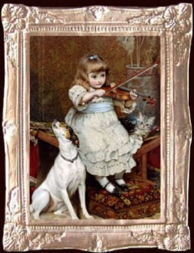 Victorian GIRL /& VIOLIN Miniature Dollhouse Picture MADE IN USA FAST DELIVERY