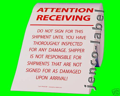 250 6X10 Attention Receiving .. Pallet Label PP6T01W