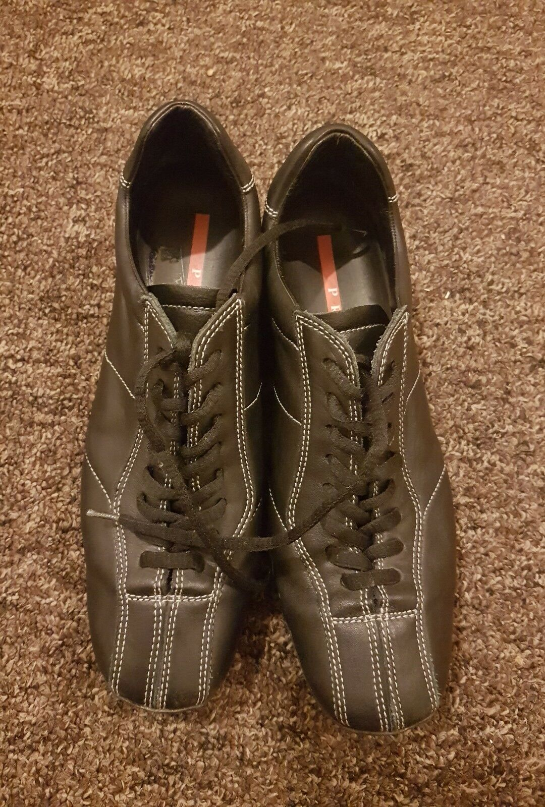 Women Prada leather trainers size 5.5 eu38.5 excellent condition authentic