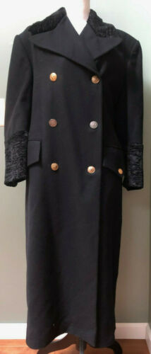 VINTAGE COMPLICE WOMANS BLACK WOOL COAT SIZE 6 MAD