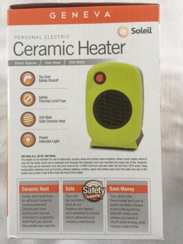 Lime Green MH-01 Electric Personal Ceramic Heater by Soleil 250 Watt Geneva