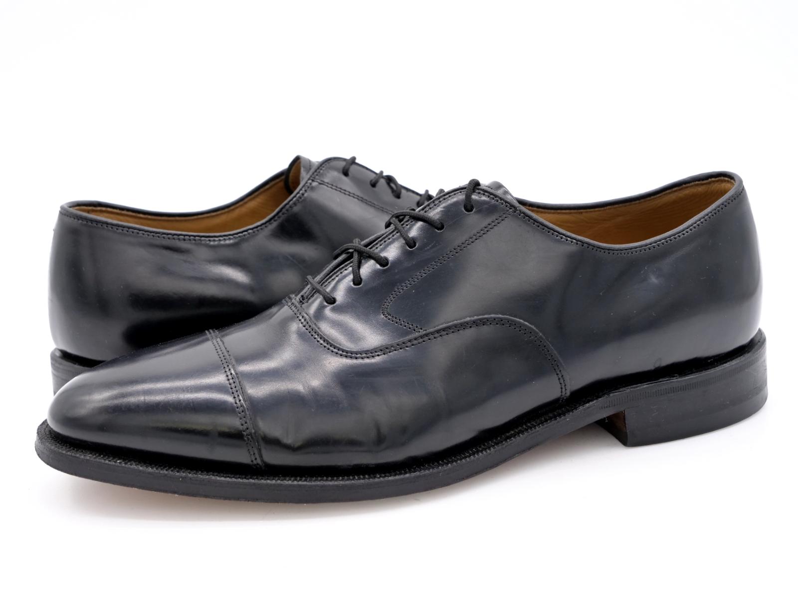 Johnston & Murphy Mens 9.5D Black Leather Lace Up Cap Toe Oxford Dress Shoes