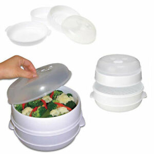 2-Tier-Microwave-Vegetable-Steamer-Pasta-Rice-Fish-Steaming-Pot-Healthy-Eating