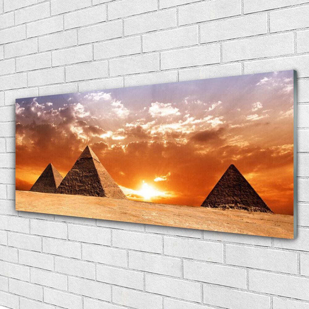 Tableau murale Impression sous verre 125x50 Paysage Pyramides