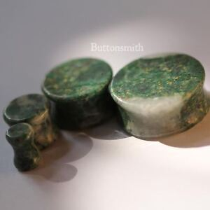 Pair-of-Green-Qinghai-Jade-Stone-Plugs-gauges-Double-Flared-ear-lobe-2g-to-1-034