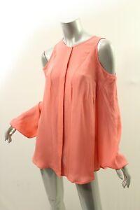 5cbc821c85a TAMARA MELLON Sunset Coral Cold Shoulder Silk Top Blouse 4 $395 | eBay