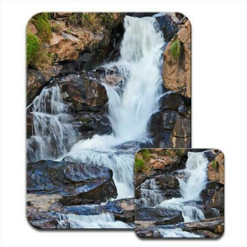 Cascading Waterfall with Moss and Rocks Mouse Mat Pad /& Coaster