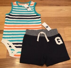 Baby-Gap-Boys-0-3-Months-Outfit-Striped-Shirt-amp-Soft-Navy-Blue-Shorts-Nwt
