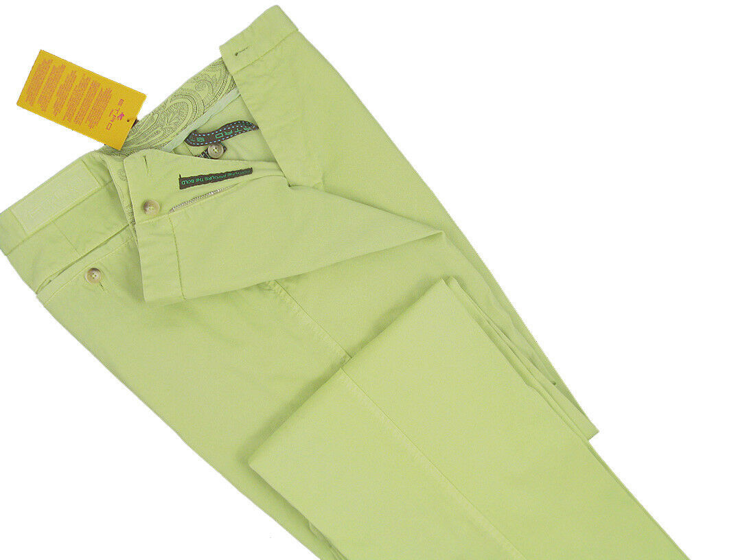 NEW  Etro colorful Cotton Pants (Trousers)  e 50 (33.5 Inch Waist)  Lime Green