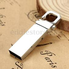 32GB USB Flash Drive Silver Metal Memory Storage Pen Stick Thumb Keychain Clip