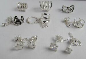 Sterling-Silver-925-Ear-Cuff-Earrings-Body-Jewellery-Chain-Cubic-Star-Hearts