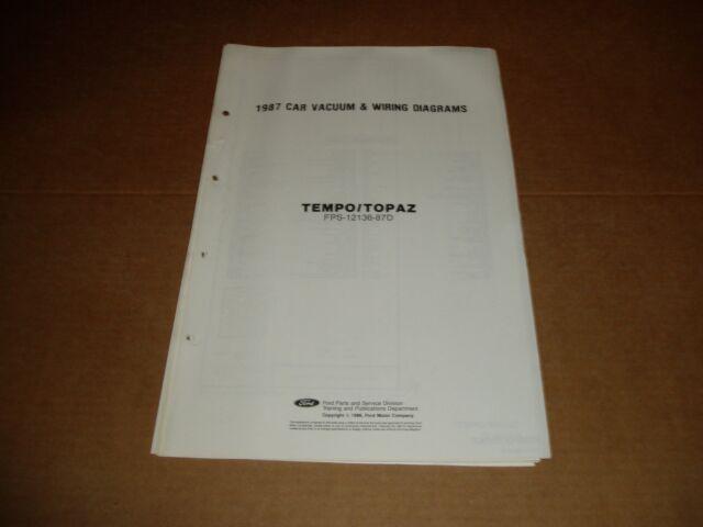 1987 Ford Tempo Mercury Topaz Electrical Wiring Diagram