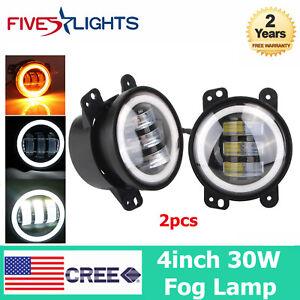 2X-4inch-60W-Halo-LED-Fog-Light-Driving-Working-Off-Road-Lamp-For-Jeep-JK-CJ-TJ