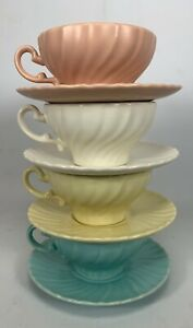 SET OF 4 Vintage CUPS & SAUCERS FRANCISCAN WARE CORONADO SWIRL 4 Colors Lovely