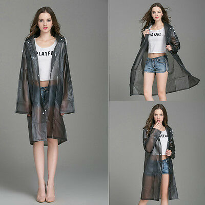 New Fashion EVA Vinyl Women Lady Hooded Raincoat Waterproof Jacket Black