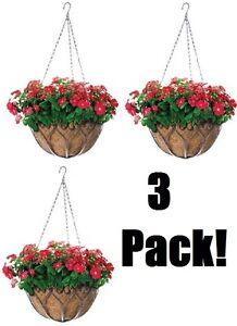 """3 ea Panacea 88574 14"""" Savanna Antique Iron Hanging Basket Planters w Coco Liner"""