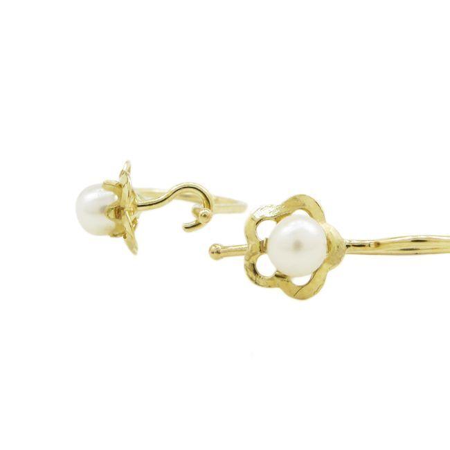 14K Yellow gold Fancy flower pearl hoop earring web231