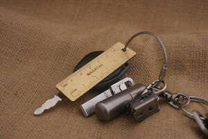 Pocket Mini Solid Brass Ruler 60mm keyring attachement