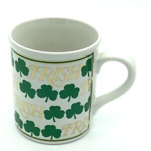 ENESCO-IRISH-Shamrock-Coffee-Cup-Mug-1992-Vintage-Scott-Smith-Gold-Lettering