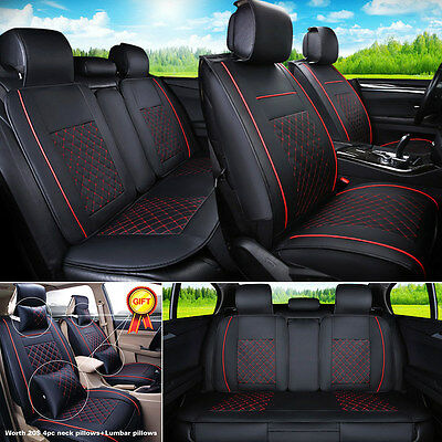 """US Black/Red PU Leather Seat Covers L Size 5-Seats Car SUV Front+Rear """"EGD SHIP"""""""