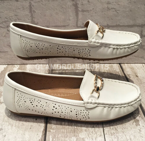 Ladies flat White moccasin shoes loafers slip on padded insole comfy shoes