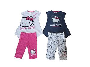 5aa8be125 Girls 2 Piece Set T-Shirt & Leggings Hello Kitty 3-10 Years Old Navy ...