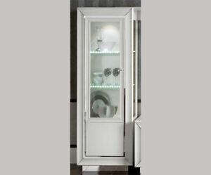 Details Zu Moderne Vitrine Weiß Hochglanz Chrom Sockel Led Glasseiten Italienische Möbel