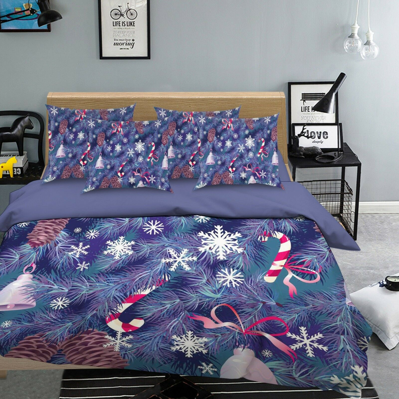 3D Snowflake Tree 7 Bed Pillowcases Quilt Duvet Cover Set Single Queen AU Carly