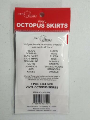 """Jeros Octopus Squid Skirt Red 4.75/"""" Pack of 5"""