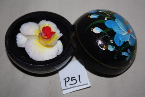 """Hand Carved Soap Flowers in Hand Painted Wood Box  3/"""""""
