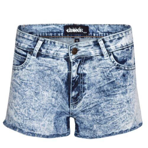 Women/'s Donna Blu Acido Lavaggio Scuro Denim Hot Pants Pantaloncini Di Jeans Stretch Estivo