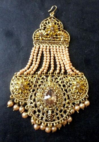 Antikes Gold überzogene indische pakistanische Hochzeit Haar Chapka Jhumar Tikka