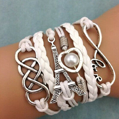 Vintage Multilayer Infinity Lover Heart Tower Charming Braided Bracelet